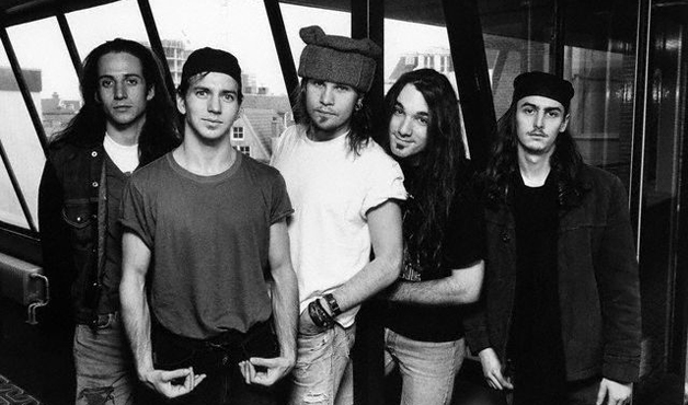 Stone Gossard, Eddie Vedder, Jeff Ament, Dave Abruzzese and Mike McCready of Pearl Jam